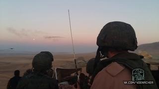 Командующий группировки войск наводит вертолёты ВКС РФ для удара по боевикам. Ноябрь 2015 г.