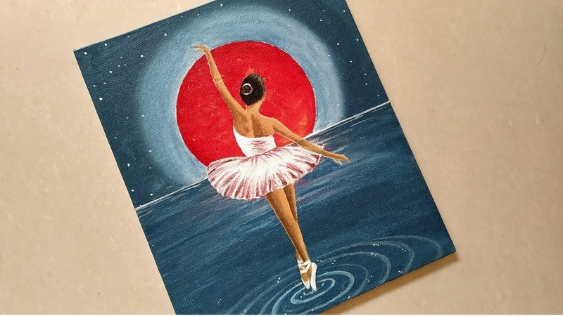 How to Paint a Dancing Girl under Moonlight / Dancing Bellerina Scenery Painting with Acrylic/ Girl