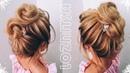 Прическа на Новый год на КОРОТКИЕ волосы ДО ПЛЕЧ Текстурный ПУЧОК Prom Hairstyle MESSY BUN