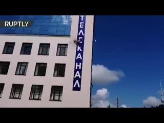 В Киеве обстреляли из гранатомёта здание телеканала 112 Украина  видео последствий