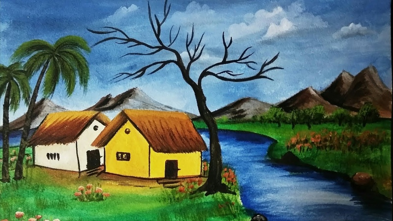 Acrylic Riverfront Landscape Painting | Nature Scenery Painting