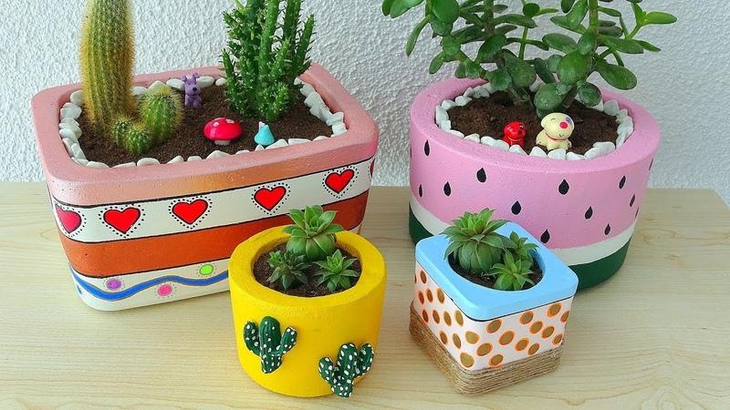 BETONDAN MUHTEŞEM SAKSILAR YAPMAK Saksı Yapımı How to Make Concrete Flower Pots at Home