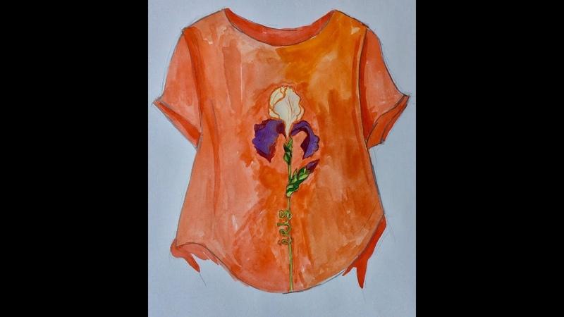 Эмилия Карелина Цветок ириса Роспись по летней блузке из льна
