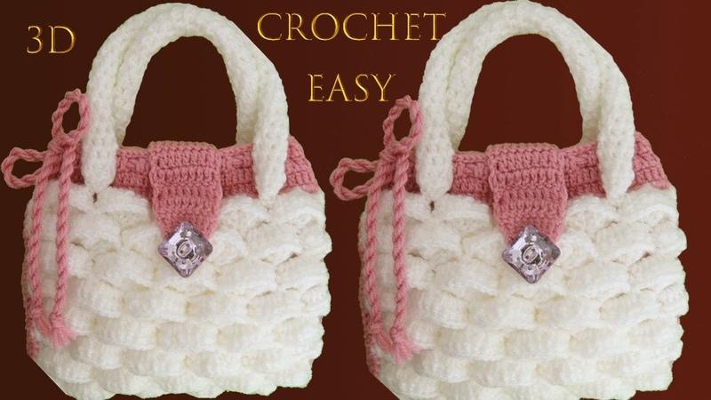 Bolso a Crochet muy fácil en punto marshmallow malvaviscos 3D tejido tallermanualperu
