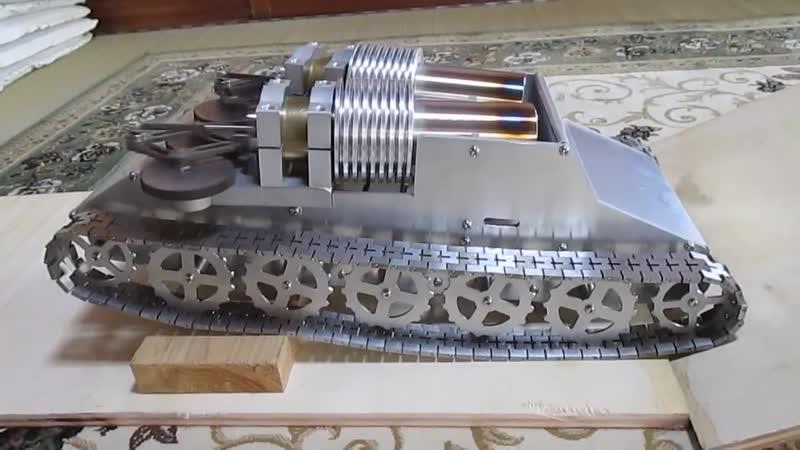 Модель танка с двухцилиндровым двигателем стирлинга