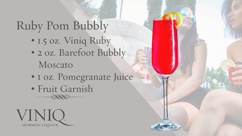 Viniq Shimmery Liqueur Cocktails Ruby Pom Bubbly