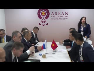 С.В.Лавров и Фам Бинь Минь, Бангкок, Таиланд, 31 июля 2019 года