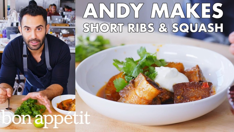 Andy Makes Braised Short Ribs with Squash From the Test Kitchen Bon Appétit