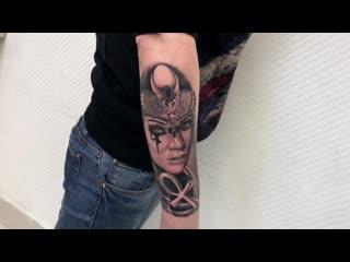 Тату-мастер илья разживин  (realistic tattoo portrait egyptian girls) | тату студия дом элит тату (tattoo studio moscow)