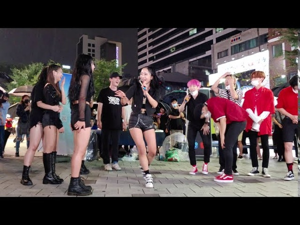 HOT🔥 DIANA WIT GUEST IDOL A C E HONGDAE STREET UNEXPECTED BUSKING IN THE RAIN