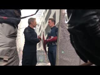 BTS of Tony, Cap and Ant Man in NY#AvengersAssemble