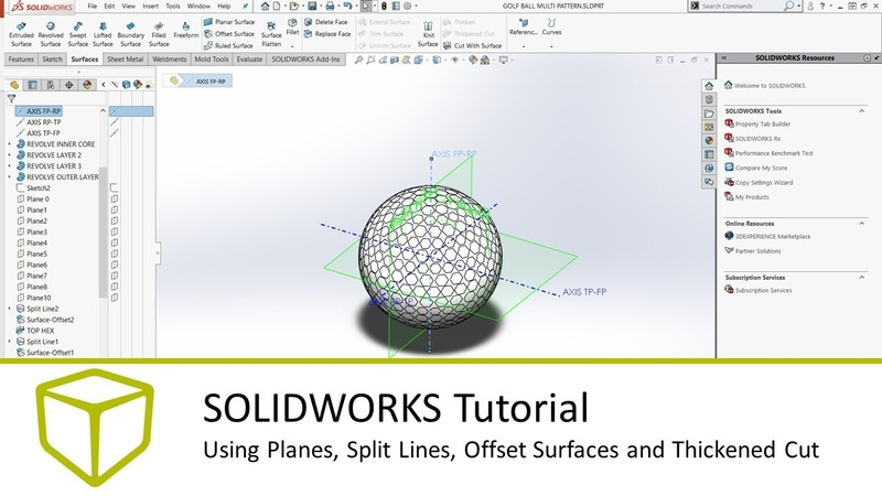 SOLIDWORKS Tutorial - Using Planes, Split Lines, Offset Surfaces and Thickened Cut
