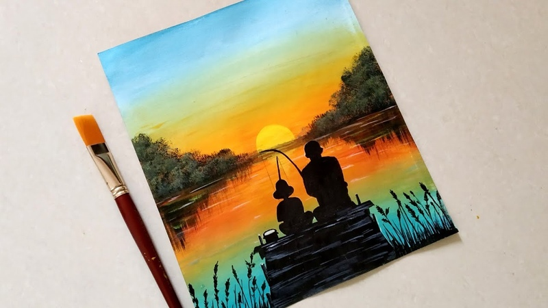 Easy father's Day acrylic sunset for beginners||Father's Day Drawing|how to draw scenery of fishing