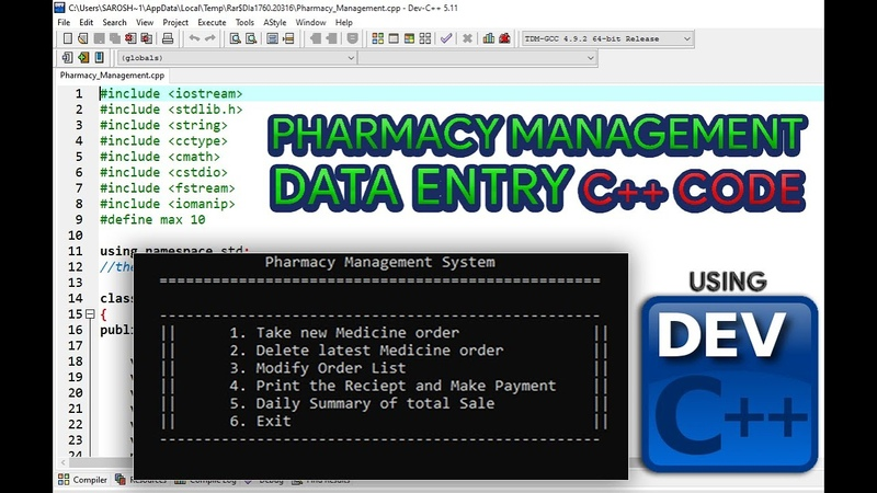 PHARMACY MANAGEMENT DATA ENTRY PROGRAM USING DEV C FREE SOURCE CODE