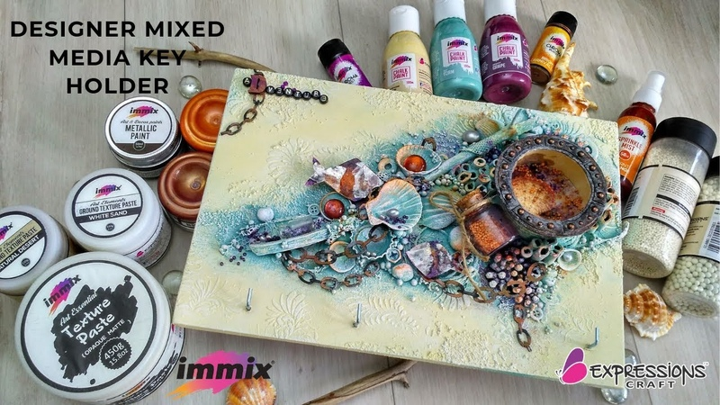 How to decorate key holder using mixed media techniques