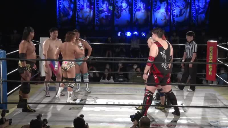 Dino, Kazuki Hirata, Matsunaga Owashi vs. ALL OUT (Shunma Katsumata Yuki Ino), Keigo Nakamura Yukio Naya