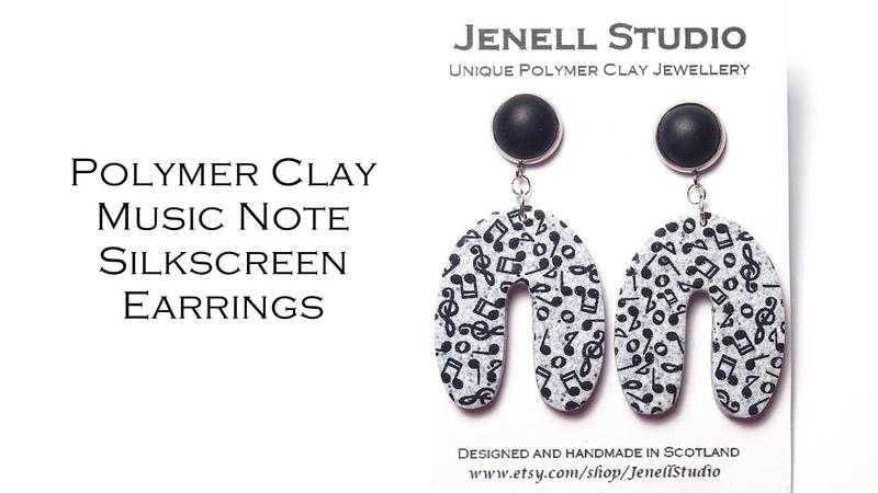 U shape Music Note Earrings Polymer Clay Silkscreen Earrings