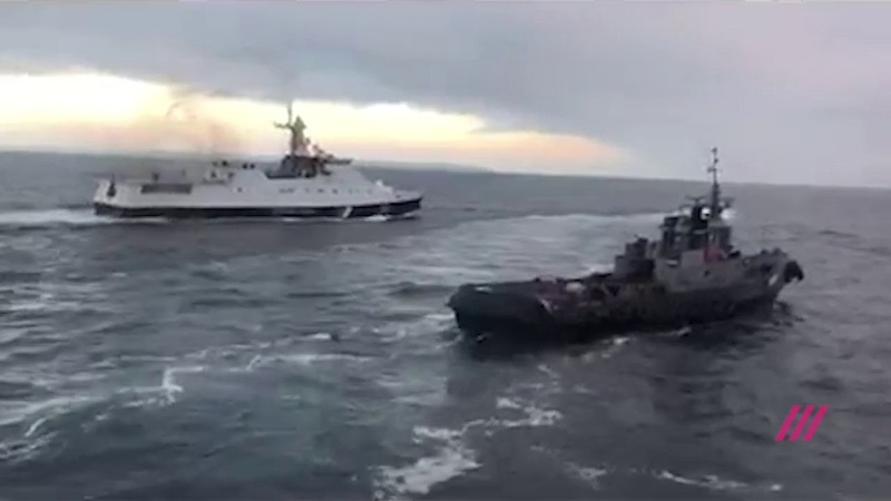 Видео тарана украинского судна в Керченском проливе
