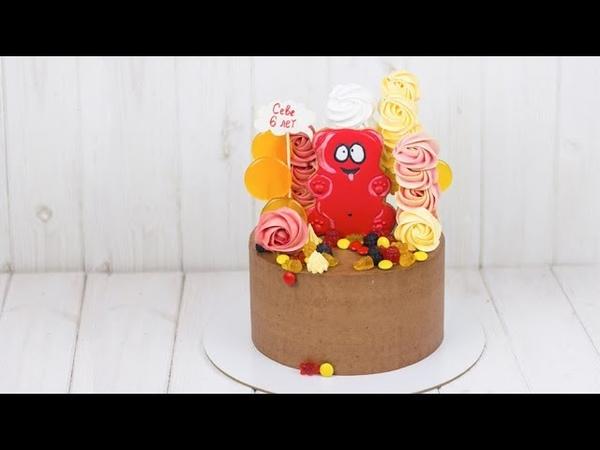 РЕЦЕПТ ТОРТА В КРУГЛОЙ ФОРМЕ. Торт с шикарным разрезом. Шоколадный торт на день рождения с фигурками