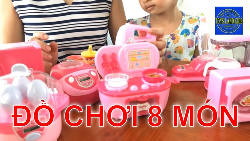 ĐỒ CHƠI NẤU ĂN 8 Món, Nồi Cơm, Tủ Lạnh, Máy Xay Như Thật | Toys Land Kids