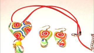 Polymer clay cane jewelry rainbow hearts tutorial
