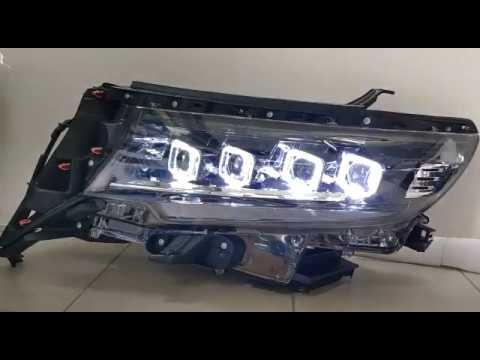 Toyota Land Cruiser Prado 150 линзовые фары с бегущим поворотником, под штатный корректор и ДХО
