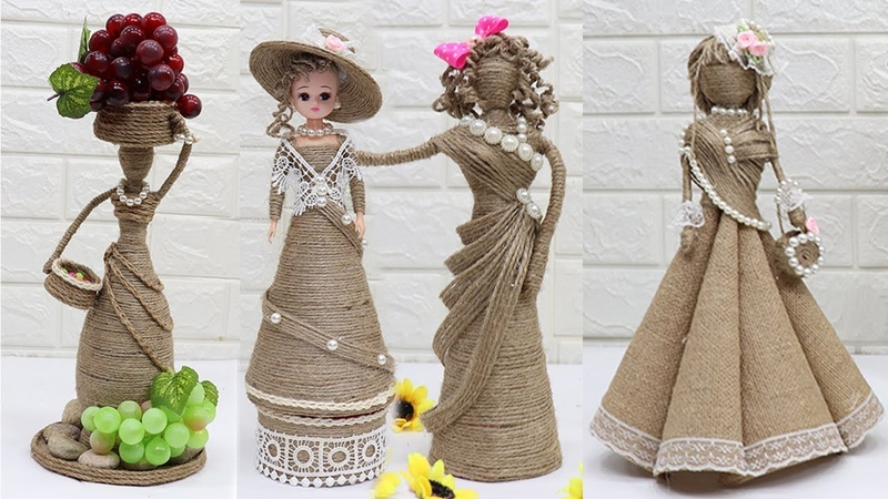 5 Beautiful Jute craft doll How to decorate doll from jute rope