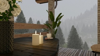Rainy Day Ambience at Outdoor Terrace - Rain and Thunder Sounds for Sleep and Study | Relaxing Rain