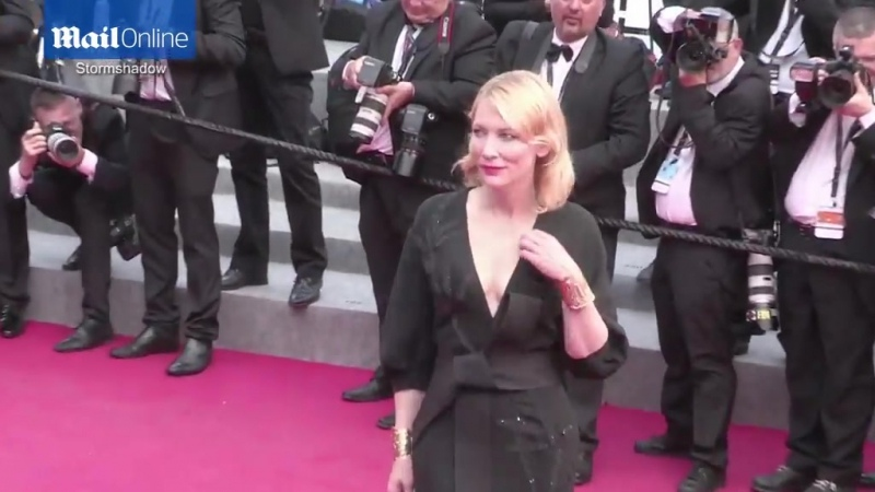 Cate Blanchett shows some cleavage in her low-cut black gown as she dazzles the Cannes premiere of Sicario