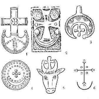 Полумесяц и крест:1- Югославия, 1 тыс. до х. э.;2- Грузия, 6 век;3- Россия, 12 век;4- Древний Крит;5- рельеф на стене церкви в Грузии, 5 век;6- изображение на стене церкви в Иране, 7 век.