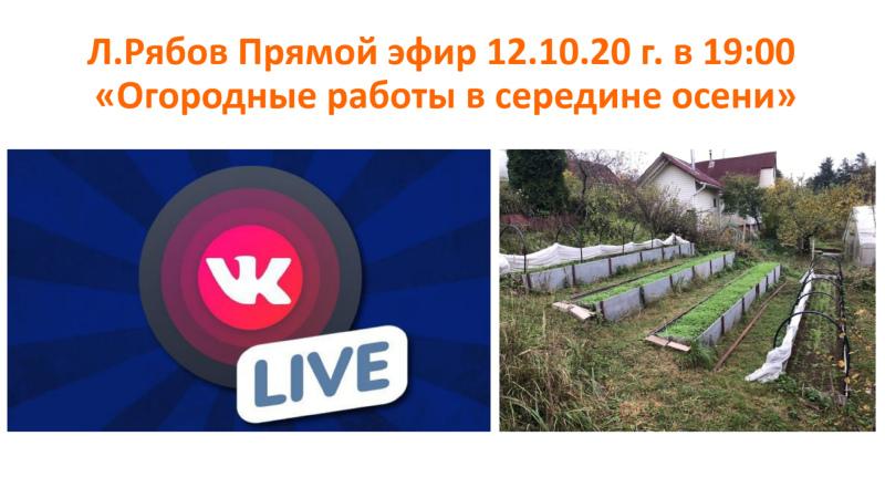 Л.Рябов Прямой эфир 12.10.20 г. в 19:00 «Огородные работы в середине осени»