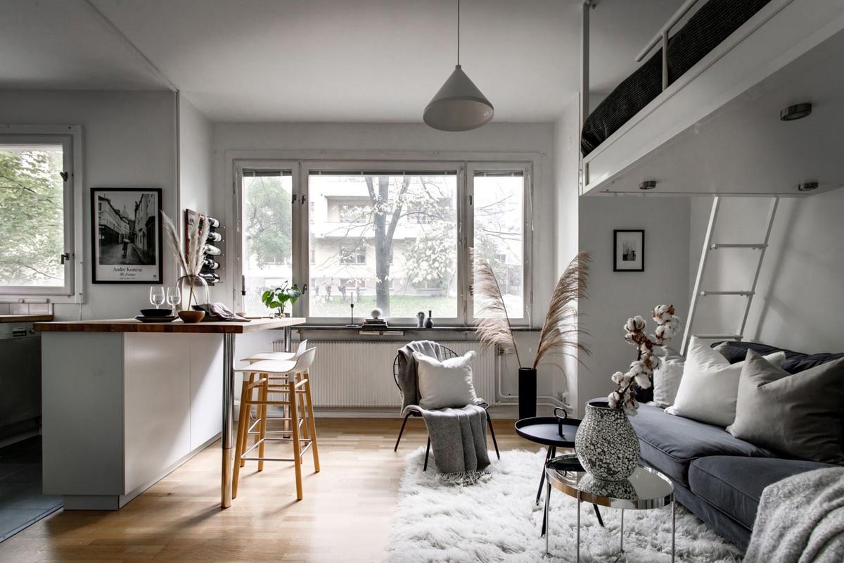 Интерьер скандинавской квартиры-студии 24 кв.