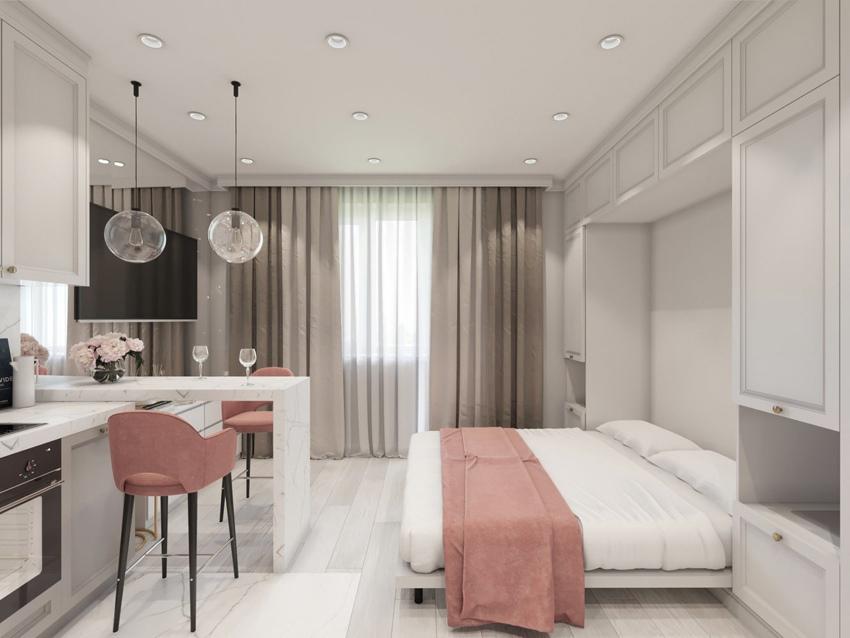Как вам идея: откидная кровать и два кресла вместо обычного дивана (кровати)?
