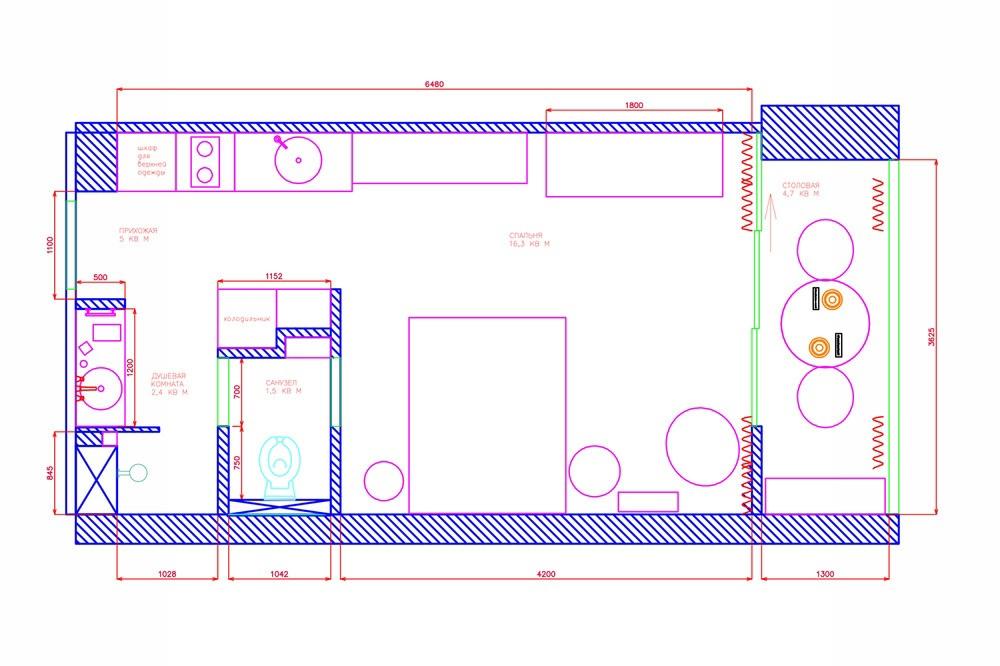 Проект квартиры-студии 30 м для девушки.