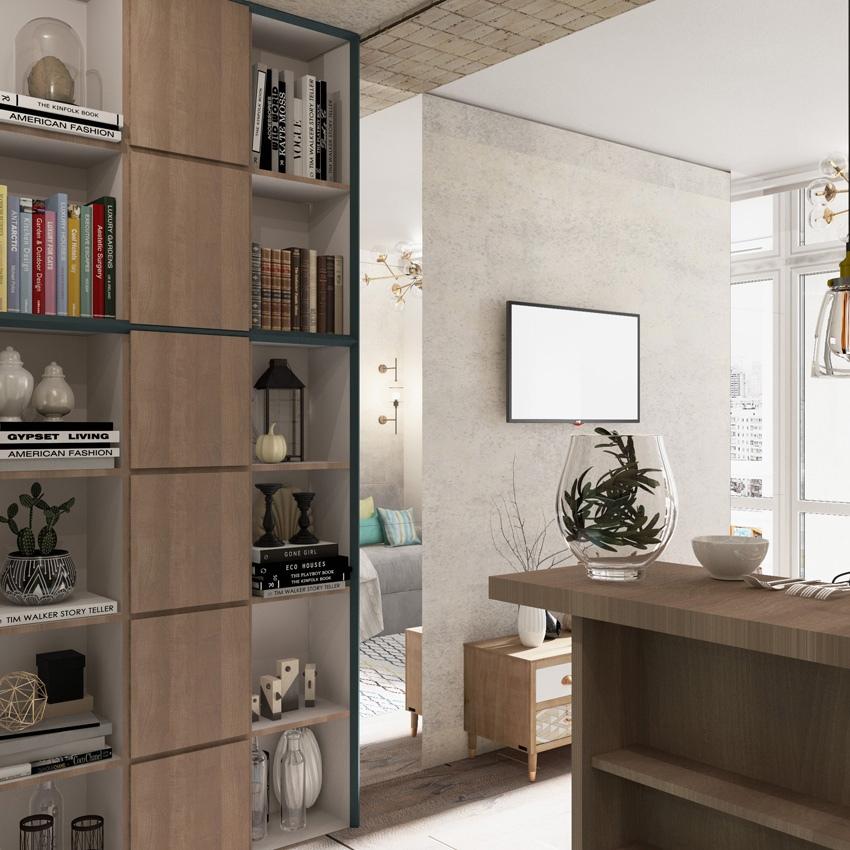 Проект квартиры-студии типовой прямоугольной планировки 28,5 кв.