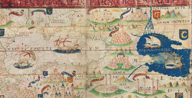 Черное и Каспийское моря. Фрагмент карты из Атласа Миллера (1519)