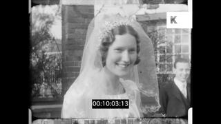 1930s, Wedding Scene, Church Exterior, 16mm