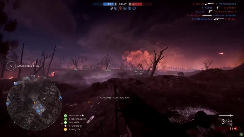 Battlefield 1 Nivelle Nights Conquest Gameplay @ HD