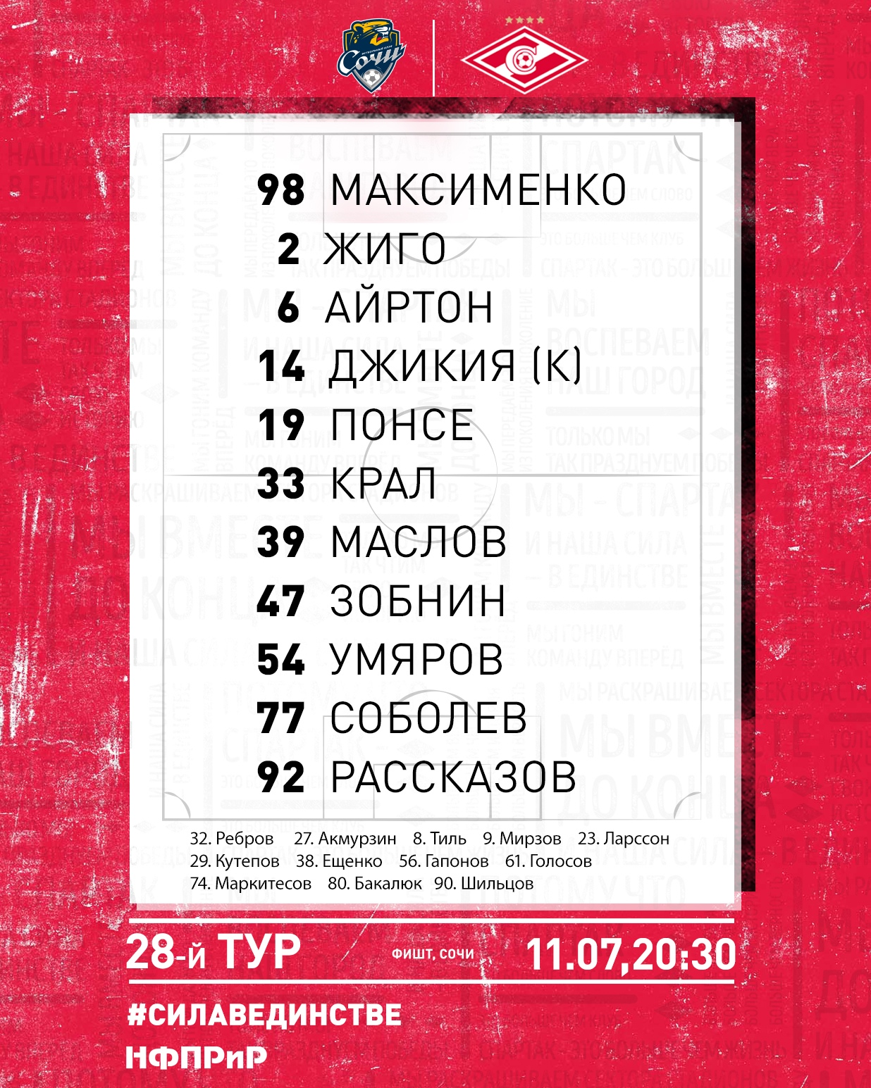 Состав «Спартака» на матч 28-го тура с «Сочи»