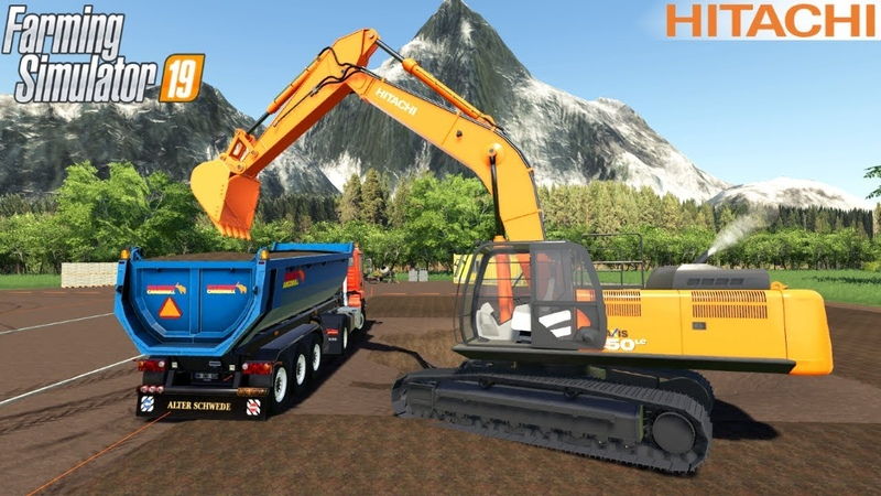 Farming Simulator 19 HITACHI 350LC 6 Excavator Digging A Hole In The Ground