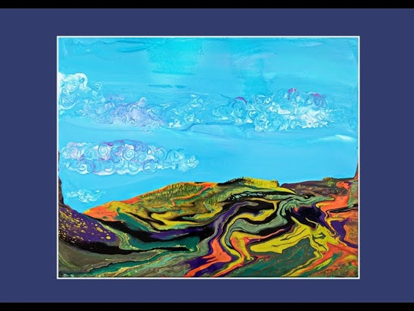 Bright Blue Sky Fluffy Clouds Mountain w Trees Landscape Fluid Acrylic Poured Art 7184 6 01 20
